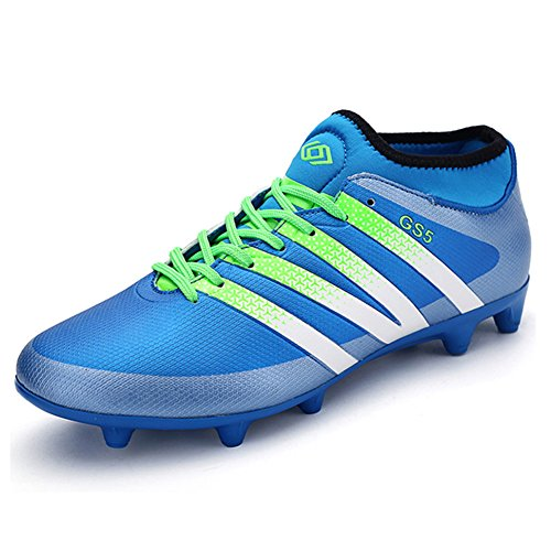 Leader show Womens Performance Soccer Shoe Outdoor Athletic Football Cleats Blue