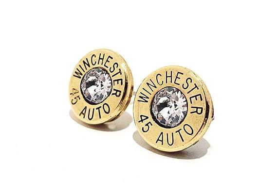 Bullet Jewelry 45 Auto Gun Ammo Brass Stud Pierced Earrings with Sterling Silver for Women