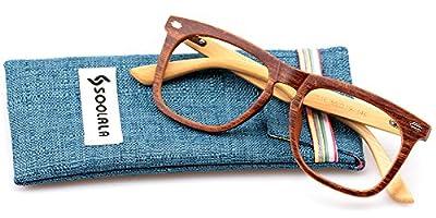 SOOLALA Cool Retro Style Quality Wood Bamboo Arm Custom Strengths Reading Glasses