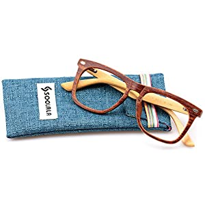 SOOLALA Cool Retro Style Quality Wood Bamboo Arm Custom Strengths Reading Glasses (Wood, 0)