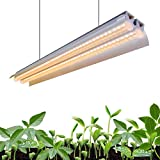 Monios-L T5 LED Grow Light, 2FT Full Spectrum Sunlight Replacement, 30W High Output Integrated Fixture with Rope Hanger for I