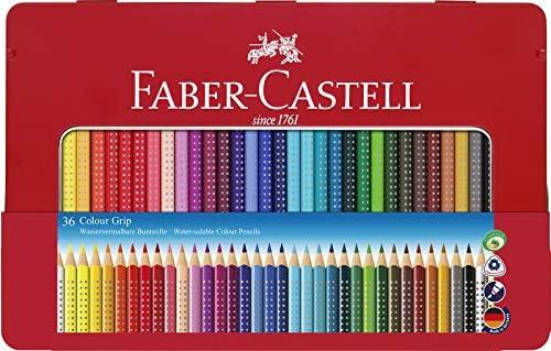 Faber-Castell 112435 - Estuche de metal con 36 lápices triangulares, escolares, de colores, con agarre Grip y acuarelables: Amazon.es: Oficina y papelería