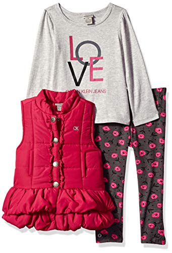 Calvin Klein Girls' Toddler 3 Pieces Puffer Vest Set, Gray/Berry/Print, 2T 3 Piece Print Vest