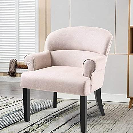 Harper&Bright Designs Contemporary Accent Chair Stylish Fabric Arm Chair  Living Room Chair with Black Wood Legs (Beige)