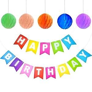 Decoraciones de Feliz Cumpleaños, Canwn Feliz Cumpleaños Decoraciones Banner con 5 Pompón Bola de Honeycomb pare Decoraciones del Partido Fiesta de Cumpleaños