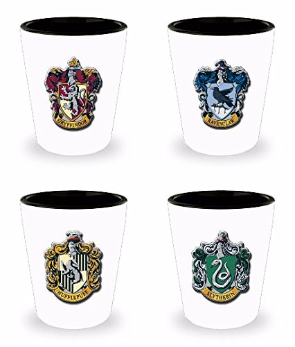 Harry Potter Shot Glasses - 1.5 Oz House Set of 4 - Harry Potter Gifts - Harry Potter Shot Glass Set - Harry Potter Gifts for Adults