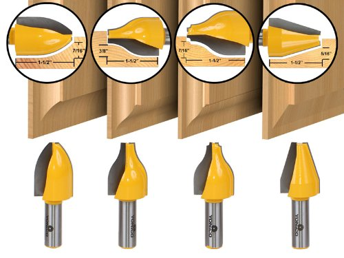 Vertical Panel - Yonico 12404 4 Bit Vertical Raised Panel Router Bit Set with 1/2-Inch Shank