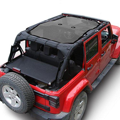 JeCar Mesh Shade Top Cover UV Protection Soft Top for Jeep Wrangler JK 2007-2017 (4 Door Black) ()