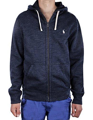 (Polo Ralph Lauren Classic Full-Zip Fleece Hooded Sweatshirt (Medium, Blue Heather))