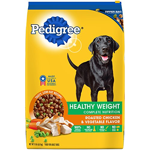 Pedigree Healthy Weight Adult Dry Dog Food Roasted Chicken & Vegetable Flavor, 15 Lb. Bag (Best Grocery List For Weight Loss)