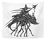Emvency Tapestry Artwork Wall Hanging Aliens Steampunk Industrial Mechanical Crab White Fantastic Robots and Machine Black 50x60 Inches Tapestries Mattress Tablecloth Curtain Home Decor Print