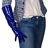 DooWay Royal Blue Patent Leather Gloves Elegant