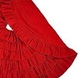 MrXLWhome Christmas Tree Skirt Red 48 inch Round, Holiday tree Decorations, burlap tree skirts red ruffle