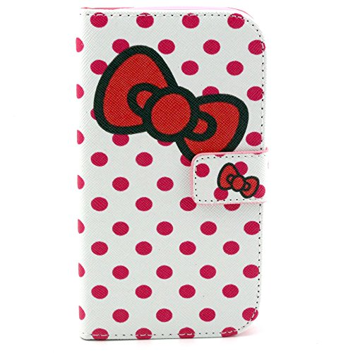 For Samsung Galaxy Grand Neo I9060 Case, IVY Spot Bowknot - Fashion Elegance Magnetic Snap Wallet Card Flip Synthetic Leather Stand With TPU Case Cover Skin For Samsung Galaxy Grand Neo I9060 / Samsung Galaxy Grand Duos i9082 i9080 GT-I9082