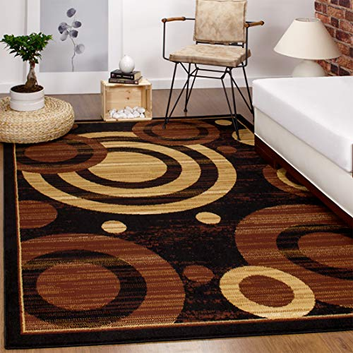 Antep Rugs Kashan King Collection GALAXY Geometric Polypropylene Indoor Area Rug Black and Beige 5' X 7' (Carpets Sale For Rugs)