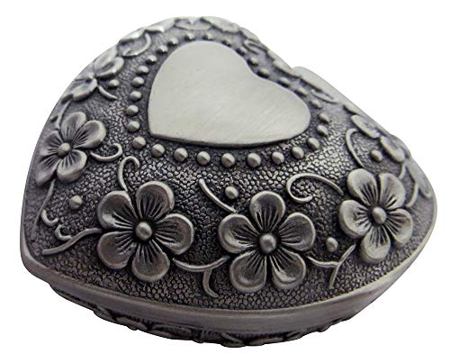 (Happy Homewares Antique Pewter Plated Metal Heart Trinket Jewelry Box with Floral Decoration Perfect for Earrings, Necklaces, Rings and Small Treasures)