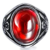 Boho Jewelry Men's Vintage Stainless Steel Oval Ruby Ring Band Black Silver 10