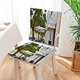 Mikihome Chair Cushion (Set of 2) Cafe Exterior Photography Includes Seat and Backrest Mat:W17 x H17/Backrest:W17 x H36