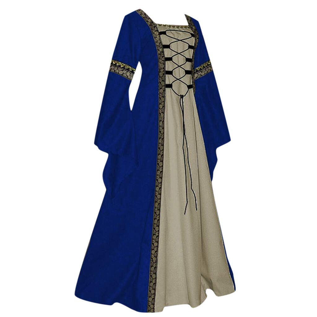 Womens Renaissance Medieval Costume Dress Lace up Irish Over Long Dresses Cosplay Retro Gown Costume Dress by Sunyastor Blue