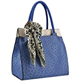 MG Collection Dorit Ostrich Tote Shoulder Bag, Blue, One Size