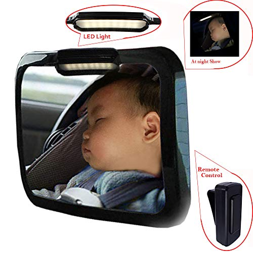 Baby Mirror for Car - Safely Monitor Infant Child in Rear Facing Car Seat,LED Remote Control,Adjustable Acrylic 360°for Backseat - Check Baby in Dark