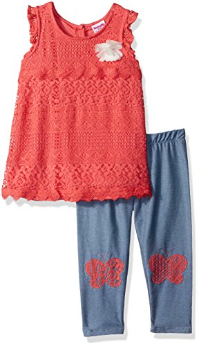 Nannette Toddler Girls' 2 Piece Lace Capri Set, Coral, 2T