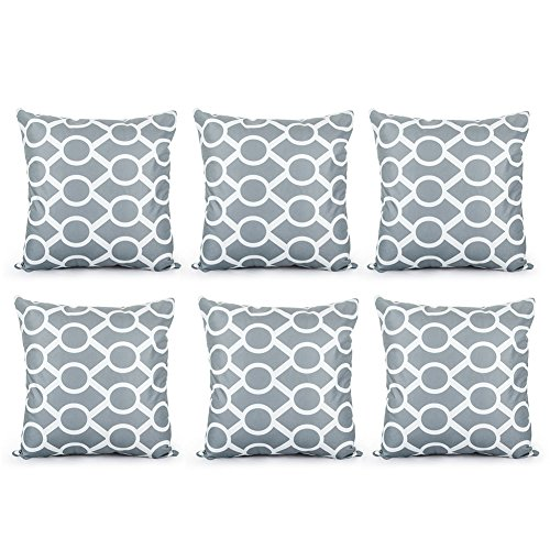 Top Finel Durable Soft Throw Pillows Cotton Linen Square Decorative Cushion Covers Pillowcases For Sofa Bed 18 x18 inch Set of 6-Sydney