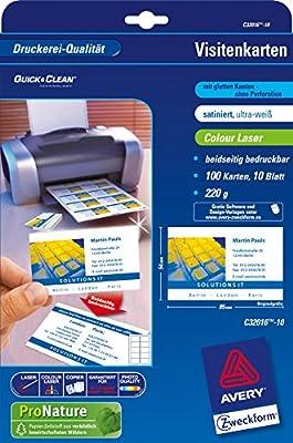 Avery Zweckform C32006 500 Premium Visitenkarten 4 Karten