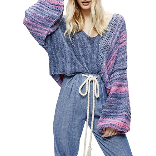 Free People Womens Knit Cropped Pullover Sweater Blue S (Free People Wool Sweater)