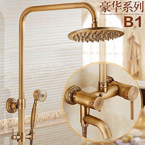Hlluya Wasserhahn Wasserhahn Wasserhahn für Waschbecken Küche Antik Messing Dusche unter Druck stehende heiße und kalte Badewanne Armatur Sprühkopf F 04d94a