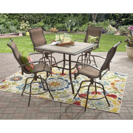 Basketweave Patio Chair (Mainstays Wesley Creek 5-Piece Counter Heights Dining Set, Brown)