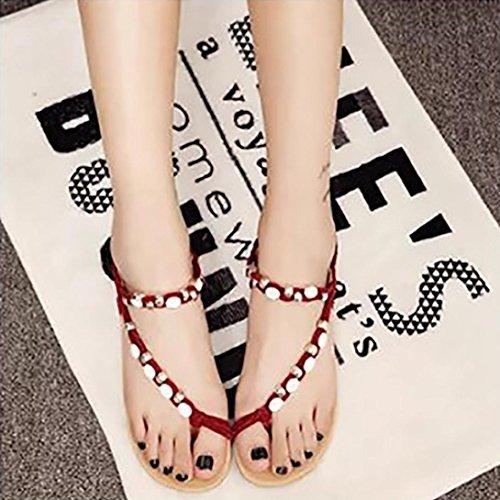Upxiang Frauen Peep-Toe Flip Flops Schuhe Böhmen Perlen Flache Schuhe Freizeit Sandalen Flachen Sandalen Rot