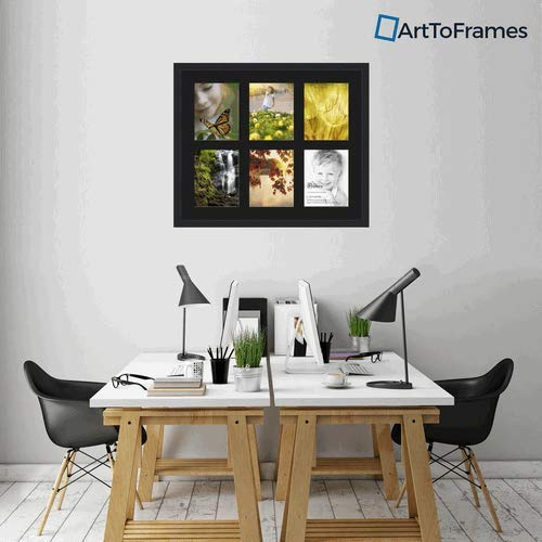 Art to Frames Double-Multimat-1055-89/89-FRBW26079 Collage Photo Frame Double Mat with 6-8x10 Openings and Satin Black Frame