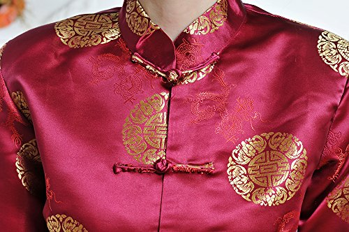 Mujer Tinto Motif Vino Chaqueta chino Totem Brocado Tang colores Estilo Traje Elegante 2 Ropa Acvip Dragon ZdHqZ