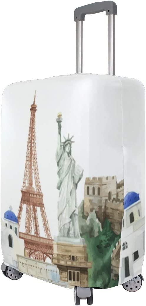 3D World Famous Landmark Print Luggage Protector Travel Luggage Cover Trolley Case Protective Cover Fits 18-32 Inch