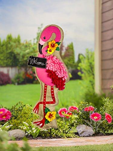 Evergreen Flamingo Outdoor Safe Fabric Garden Stake, 36 inches (& Evergreen Home Hearth)