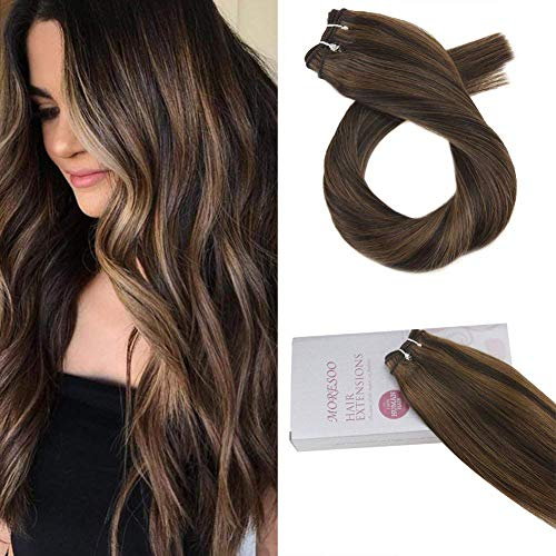 Moresoo 18 Inch Weft Hair Extensions Human Hair Color Darkest Brown #2 Highlighted with #8 Brazilian Human Hair Weaving/Weft Extensions Sew in 100g Per Bundle