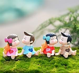 danmu 2pares de mini pvc para los amantes del jardín de hadas Micro Paisaje Decoración de Hogar Jardín Macetas Bonsai Craft Decor