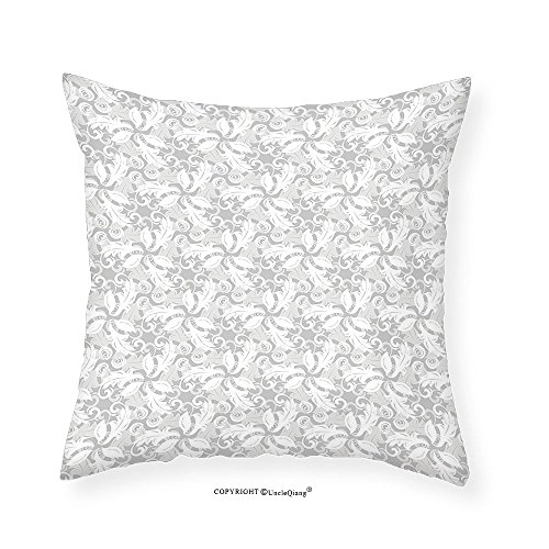 VROSELV Custom Cotton Linen Pillowcase Grey Decor Swirled Blossom Leaves Kitsch Exquisite Nature in Digital New Oriental Artwork for Bedroom Living Room Dorm Cloud White - Boyfriend Selena New Gomez