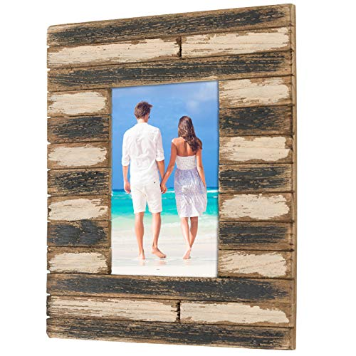 Painted Rustic Wood Picture Frame: Holds a 4x6 Photo: Ready to Hang, Ready to Stand with Built in Easel, Rustic, Distressed, Shabby Chic, Driftwood, Barnwood, Farmhouse, Reclaimed Wood Picture Frame - Wood Painted Rustic