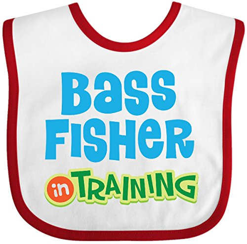 Inktastic - Bass fisher in training Baby Bib White/Red for sale  Delivered anywhere in USA
