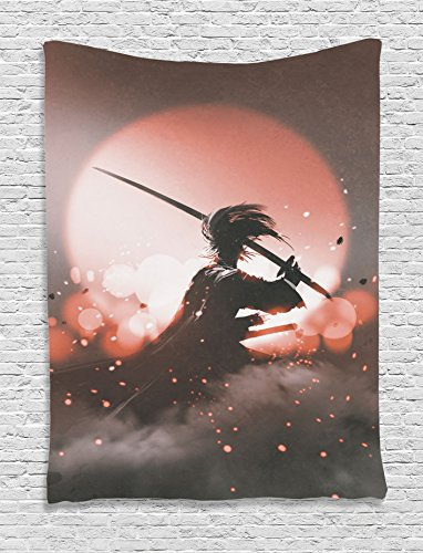 Ambesonne Japanese Tapestry, Reflection of Samurai Practicing Hazy Sunset Background Free from Death Concept, Wall Hanging for Bedroom Living Room Dorm Decor, 40
