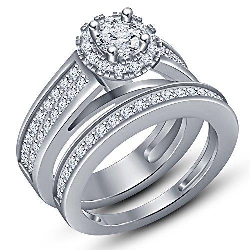Vorra Fashion Brilliant Round Cut White Cubic Zirconia Ladies Bridal Engagement Ring Set (6) from Vorra Fashion