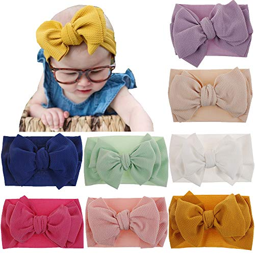Wrap Bow - Baby Nylon Knotted Headbands Girls Head Wraps Newborn Infant Toddler Hairbands and Bows (Multicoloured XMBK19 Big Bows)
