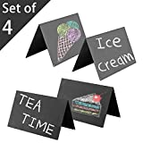 Set of 4 Double-Sided Chalkboard Tent Signs, 8 x 5 inch Tabletop Black Metal Write-On Displays