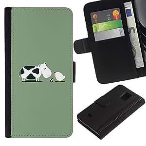 LECELL--Cuero de la tarjeta la carpeta del tirón Smartphone Slots Protección Holder For Samsung Galaxy S5 Mini, SM-G800 -- Vaca divertida del pollo Nacimiento --
