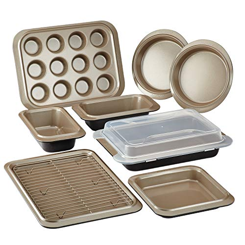 Anolon Eminence Nonstick Bakeware Set, 10-Piece, Onyx with Umber ()