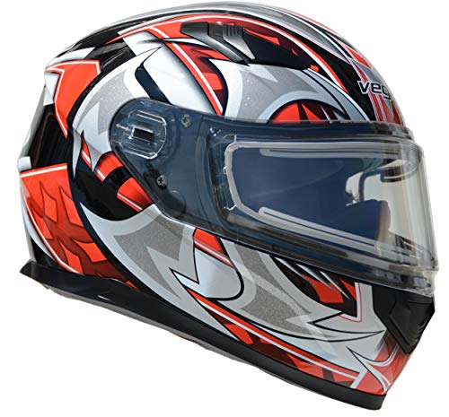(Vega Helmets Ultra Electric Snow Unisex-Adult Full Face Snowmobile Helmet with Heated Shield Red Shuriken Graphic Medium)