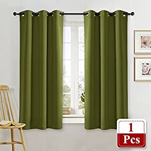 Olive Green Blackout Drape for Nursery - NICETOWN Home Fashion Thermal Insulated Blackout Room Darkening Curtain / Drapery with Ring Top (Single Panel, 42 by 63-Inch, Olive Green)