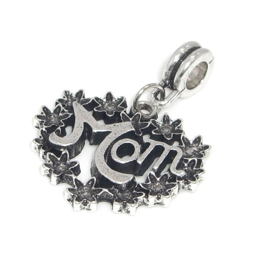 "Jewelry Monster Antique Finish ""Dangling Mom Heart Wreath"" Charm Bead for Snake Chain Charm Bracelet"